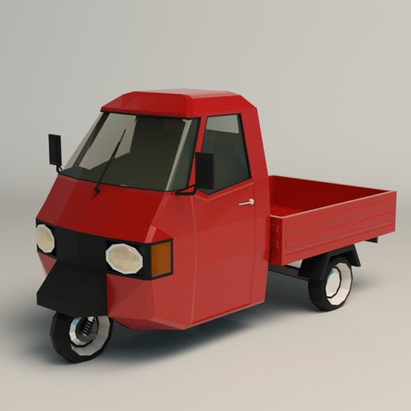 Low Poly Three Wheeled Pickup 02