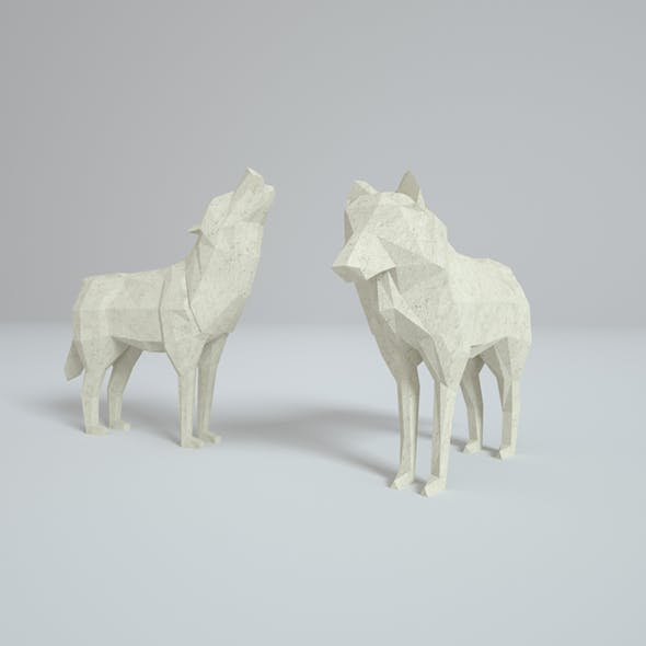 Low Poly Paper Wolves