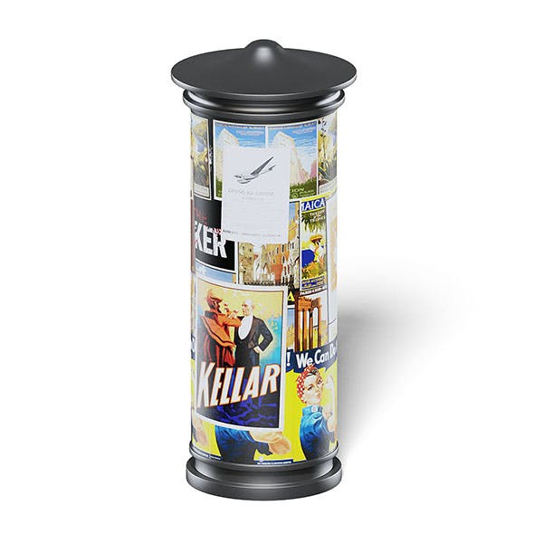 Advertising Column 3D Model - 3DOcean Item for Sale