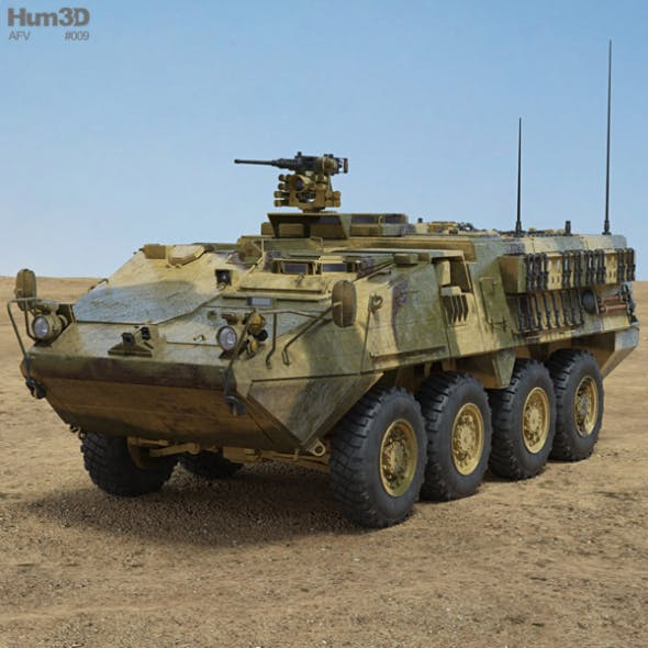 M1126 Stryker ICV with HQ interior - 3DOcean Item for Sale