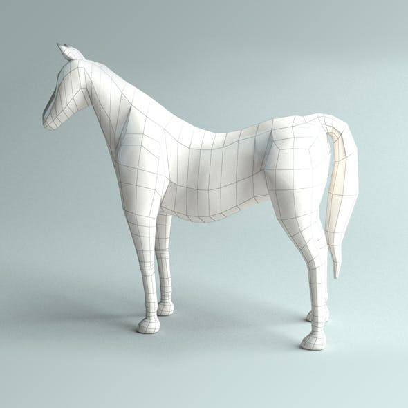 Low-poly Horse base model - 3DOcean Item for Sale