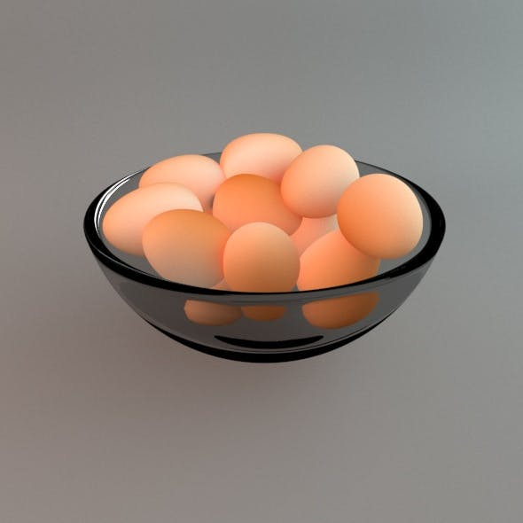 Bowl with Eggs - 3DOcean Item for Sale