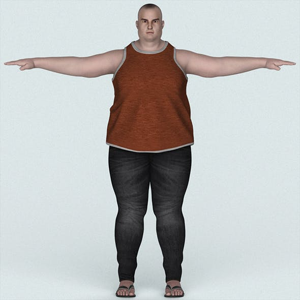 Realistic Young Fatty Man - 3DOcean Item for Sale