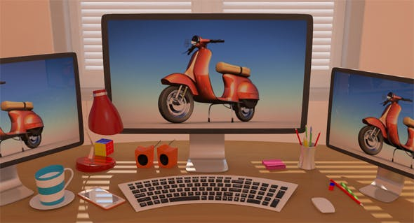Office Stylized Scene Low-Poly - 3DOcean Item for Sale
