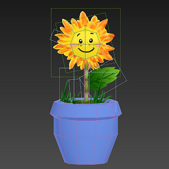 low poly cartoon flower