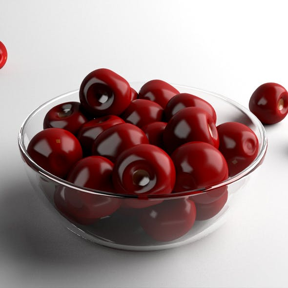 Cherry with Glass Bowl - 3DOcean Item for Sale