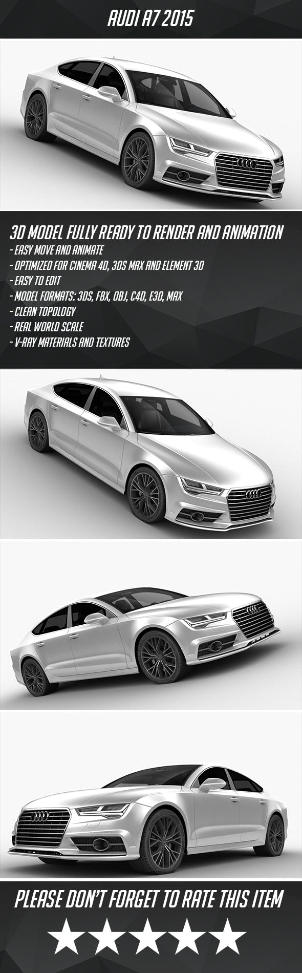 Audi A7 2015 - 3DOcean Item for Sale