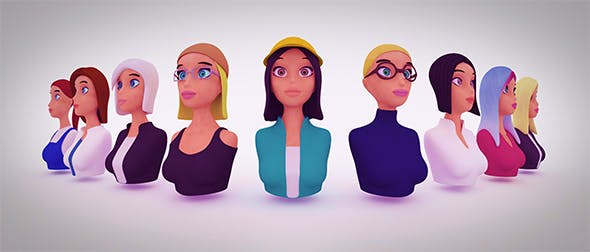 Nine VR female character avatars Low-Poly - 3DOcean Item for Sale