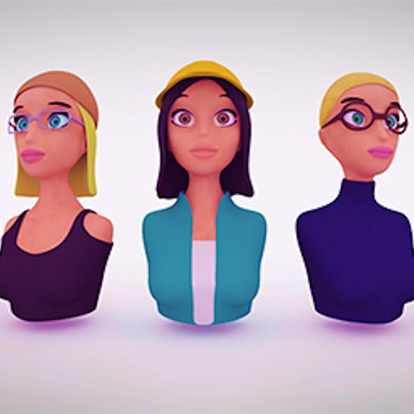 Nine VR female character avatars Low-Poly