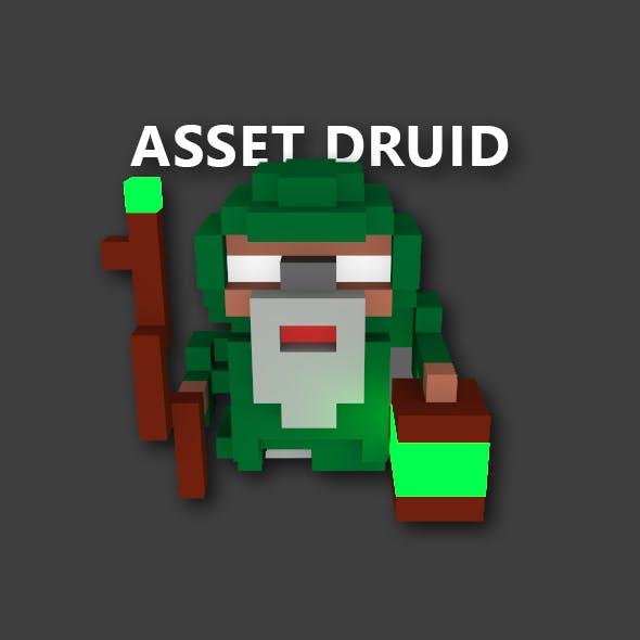 Druid - Voxel Model, Game Assets