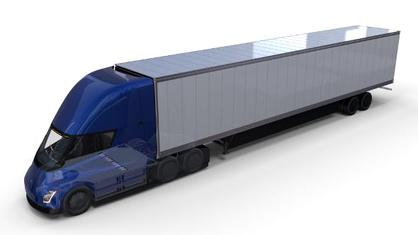 Tesla Truck with Chassis Interior and Trailer Blue - 3DOcean Item for Sale