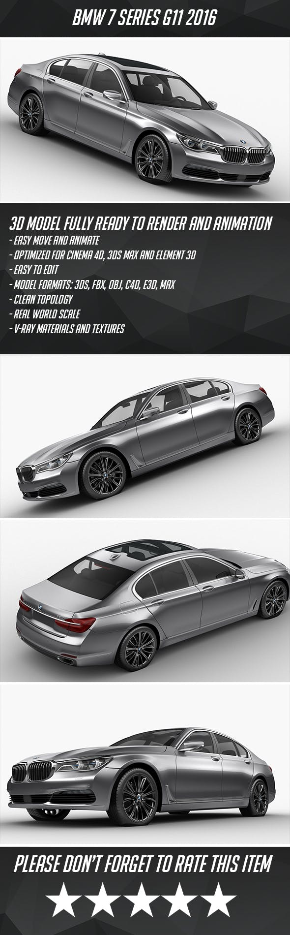 BMW 7-series G11 2016 - 3DOcean Item for Sale