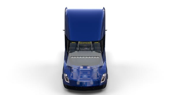 Tesla Truck with Chassis and Interior Blue - 3DOcean Item for Sale