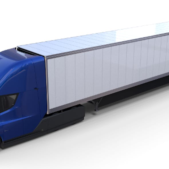 Tesla Truck with Interior and Trailer Blue