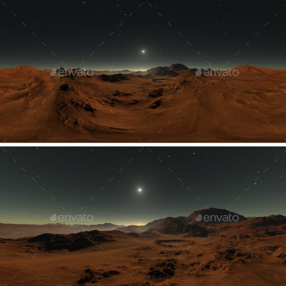 360 degree panorama of Mars sunset