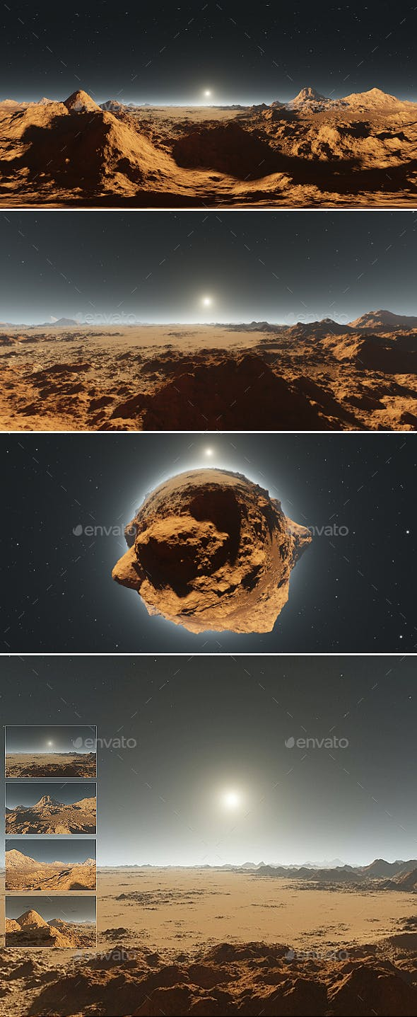 360 degree panorama of Mars sunset - 3DOcean Item for Sale