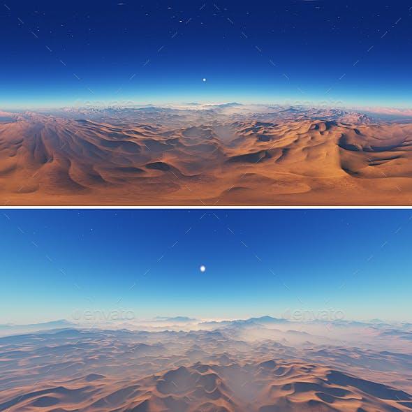 360 degree panorama of fantasy landscape sunset