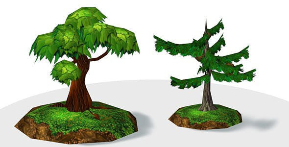 Semirealistic Low poly Trees - 3DOcean Item for Sale