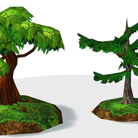 Semirealistic Low poly Trees