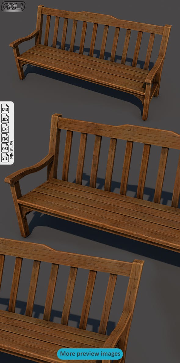 Wood bench - 3DOcean Item for Sale