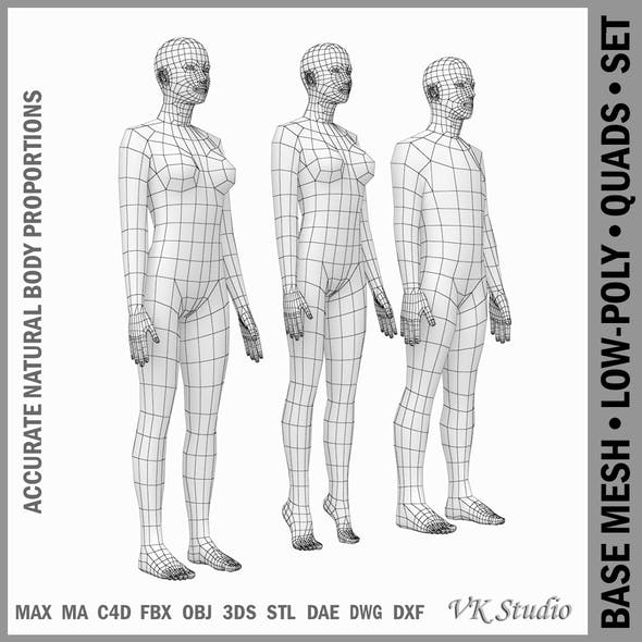 Female and Male Base Mesh Natural Proportions in Rest Pose - 3DOcean Item for Sale