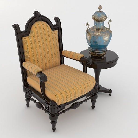 Classic Armchair with Side Table and Vase