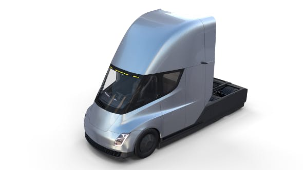 Tesla Truck with Interior Silver - 3DOcean Item for Sale
