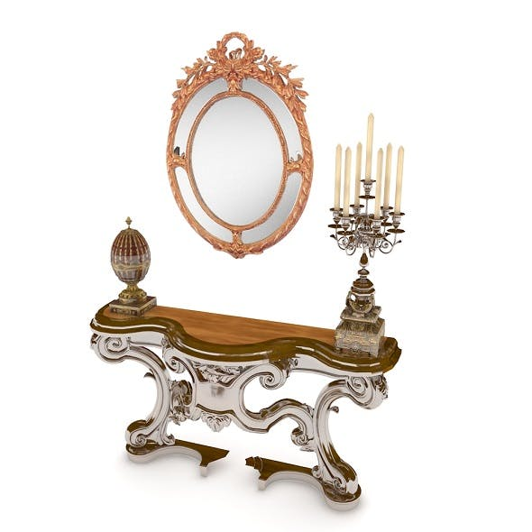 Classic Console Table With Mirror - 3DOcean Item for Sale