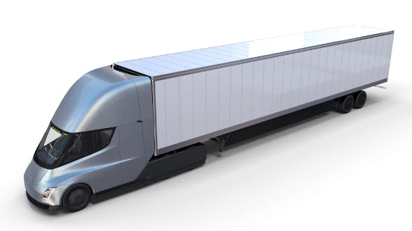 Tesla Truck with Interior and Trailer Silver - 3DOcean Item for Sale