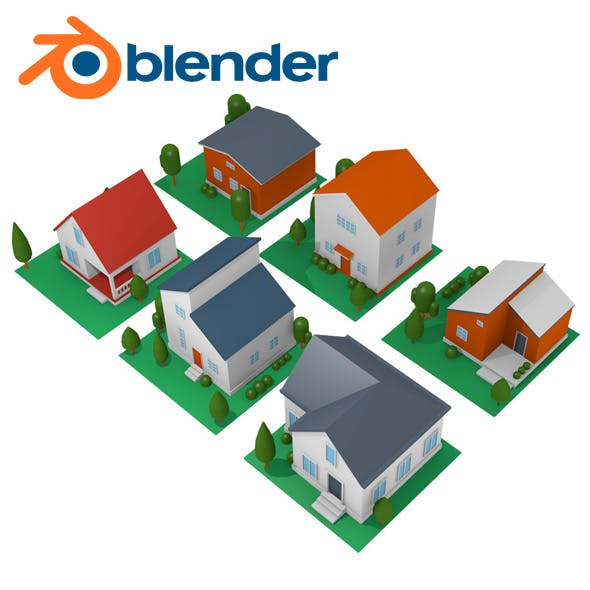 Low poly house pack - 3DOcean Item for Sale