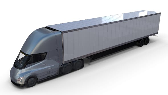 Tesla Truck with Chassis Interior and Trailer Silver - 3DOcean Item for Sale