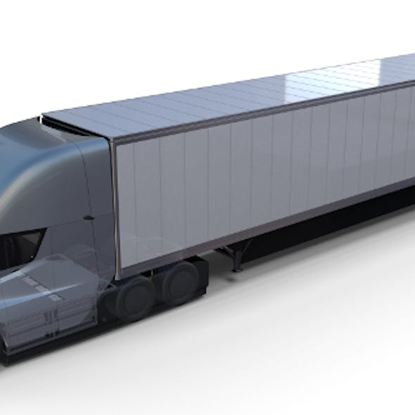 Tesla Truck with Chassis Interior and Trailer Silver