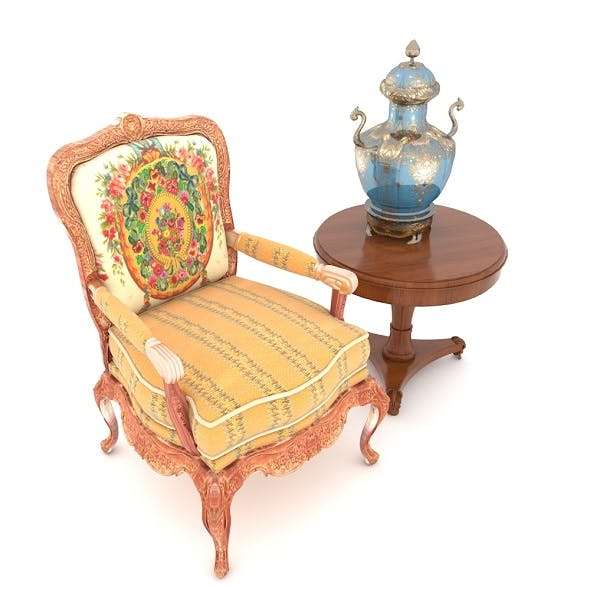 Floral Armchair with Side Table and Vase