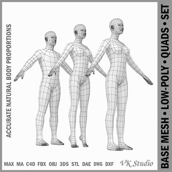 Female and Male Base Mesh Natural Proportions in A-Pose
