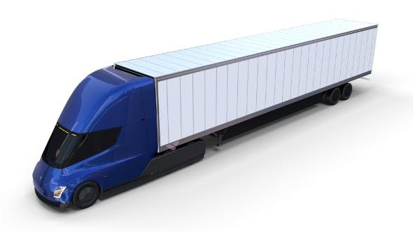 Tesla Truck Blue w trailer - 3DOcean Item for Sale
