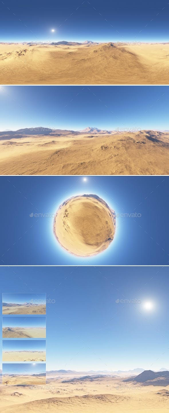 Panorama of desert landscape sunset, environment 360 HDRI map - 3DOcean Item for Sale