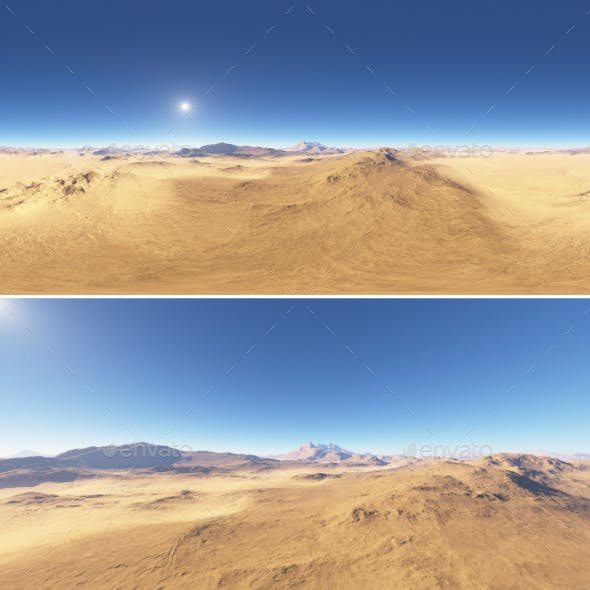 Panorama of desert landscape sunset, environment 360 HDRI map