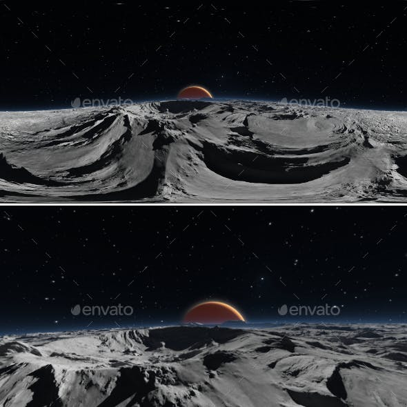 Panorama of Phobos with the red planet Mars in the background