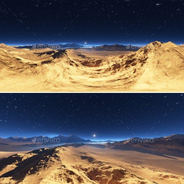 Panorama of desert landscape sunset, environment 360 HDRI map