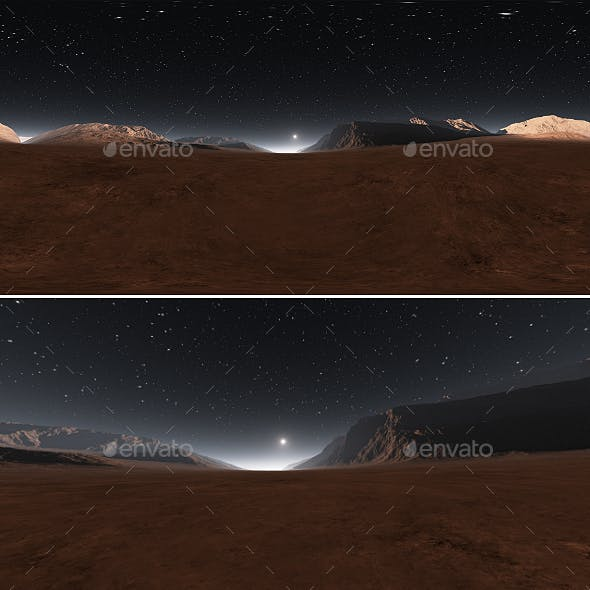 Panorama of Mars sunset, environment 360 HDRI map