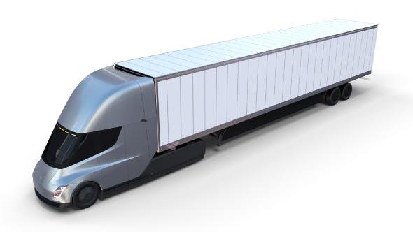 Tesla Truck Silver w trailer - 3DOcean Item for Sale