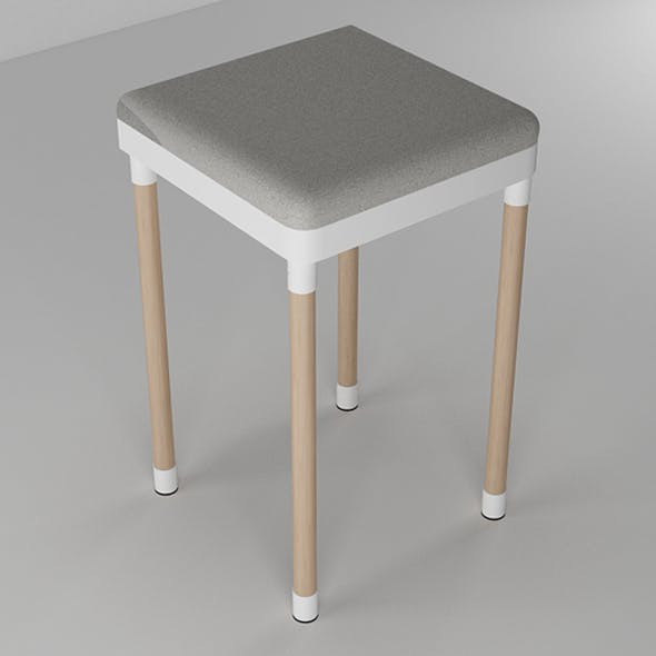 Simple Stool Wood and White - 3DOcean Item for Sale