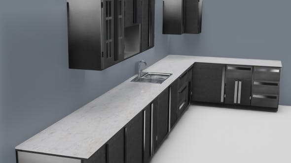 Low Poly Kitchen Grey - 3DOcean Item for Sale