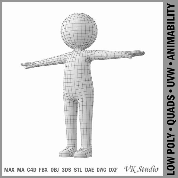 Adult Stylized Stickman in T-Pose - 3DOcean Item for Sale