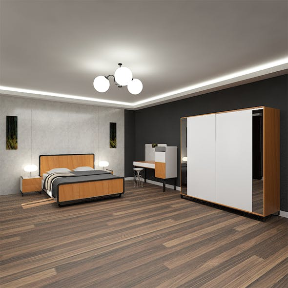 Vinte Bedset Wood and White - 3DOcean Item for Sale