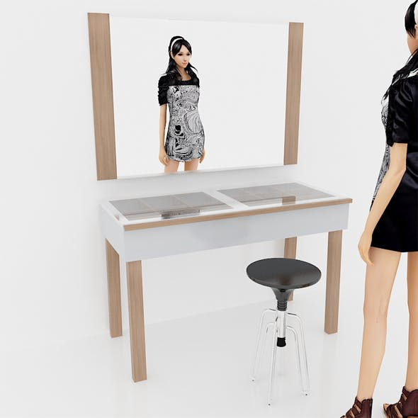 Riley Dressing Table White and Wood