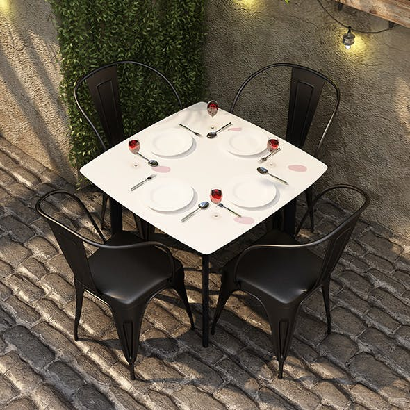 IRON DINING SET - CAFE - 3DOcean Item for Sale