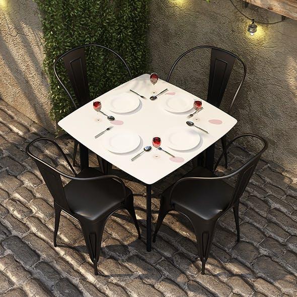 IRON DINING SET - CAFE