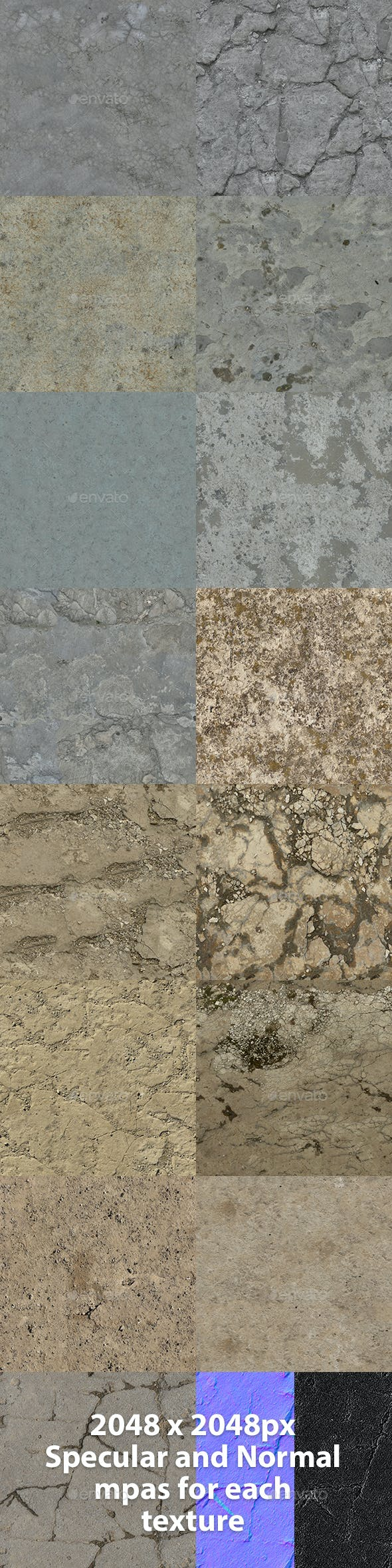 Set of 15 Various Concrete Floor Textures Volume 2 - 3DOcean Item for Sale