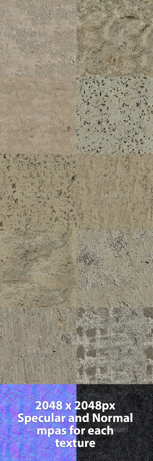 Set of 10 Various Concrete Floor Textures Volume 3 - 3DOcean Item for Sale